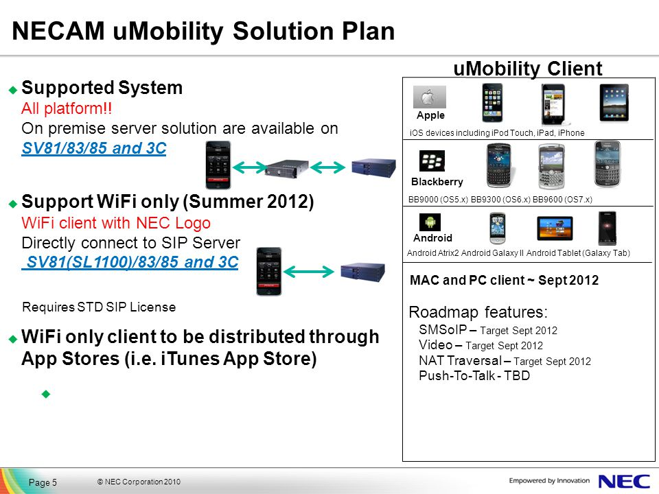 NECAM uMobility Solution Plan