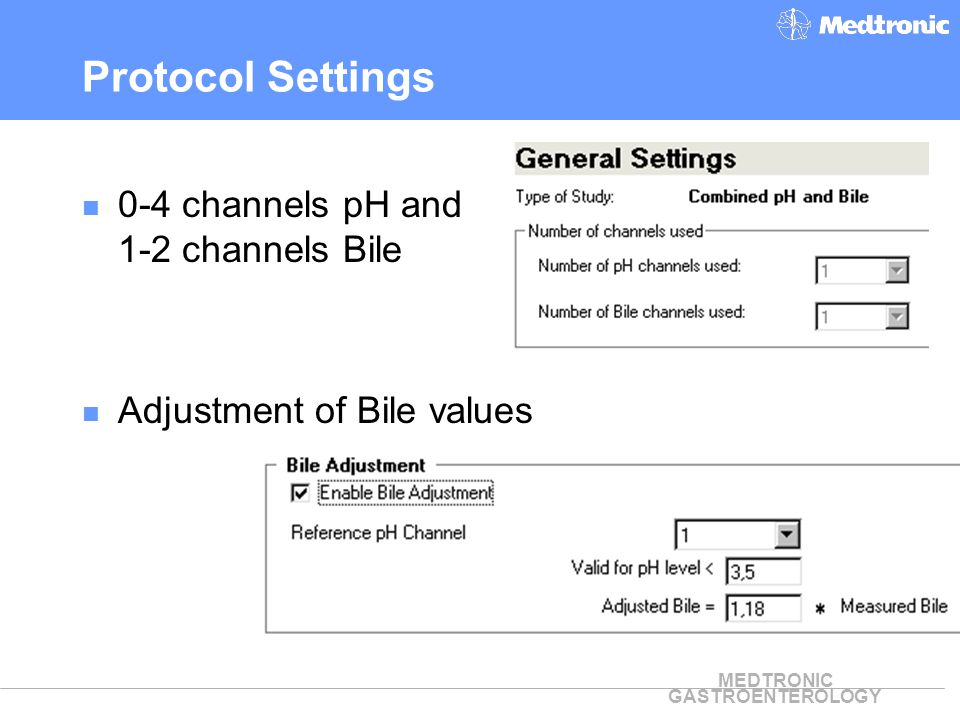 Protocol Settings 0-4 channels pH and 1-2 channels Bile
