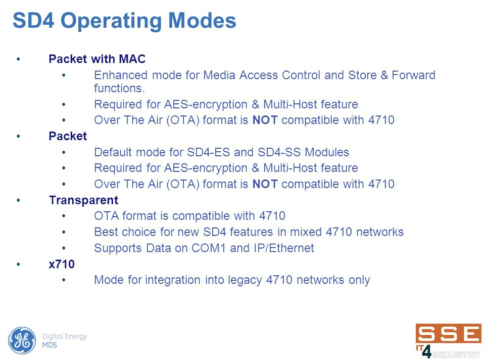 SD4 Operating Modes Packet with MAC