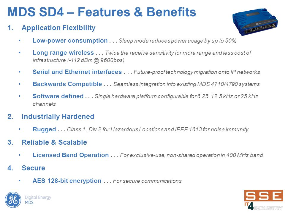 MDS SD4 – Features & Benefits