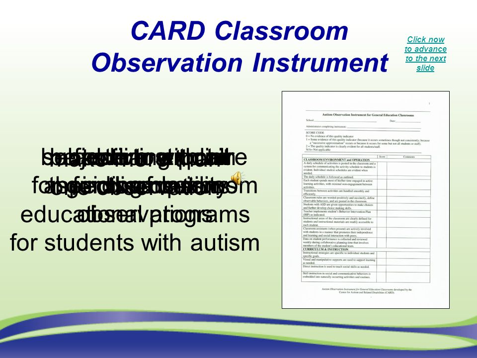 CARD Classroom Observation Instrument