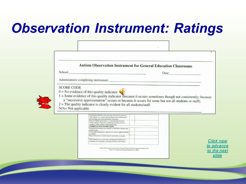 Observation Instrument: Ratings