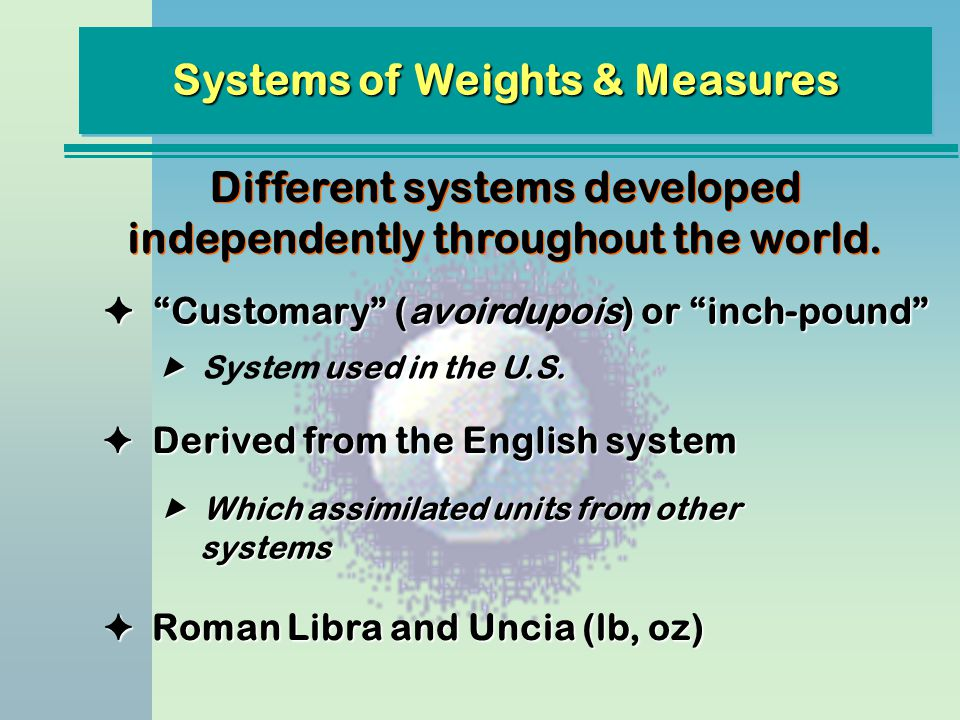 Systems of Weights & Measures