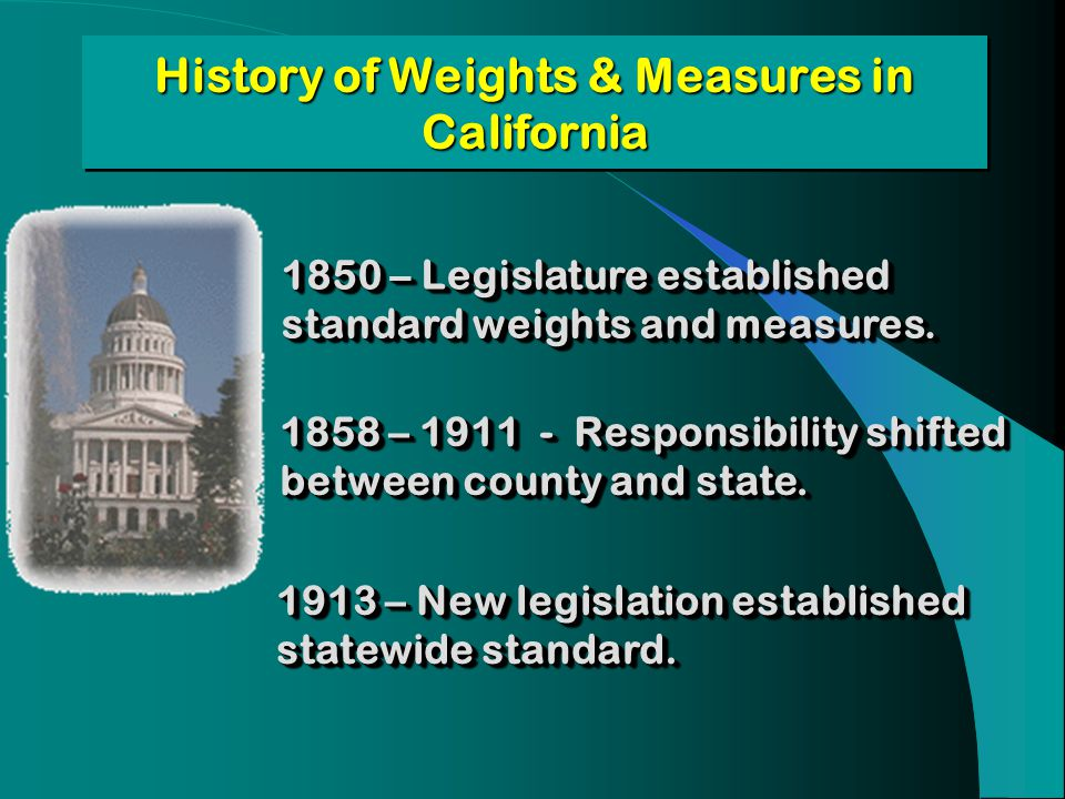 History of Weights & Measures in California