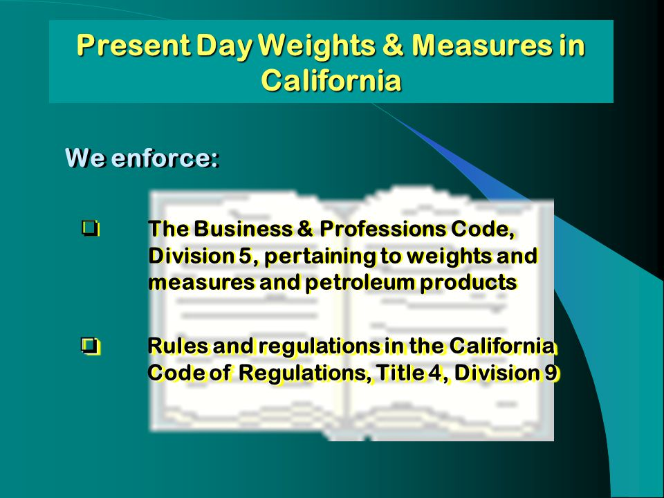 Present Day Weights & Measures in California