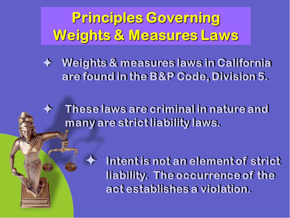 Principles Governing Weights & Measures Laws