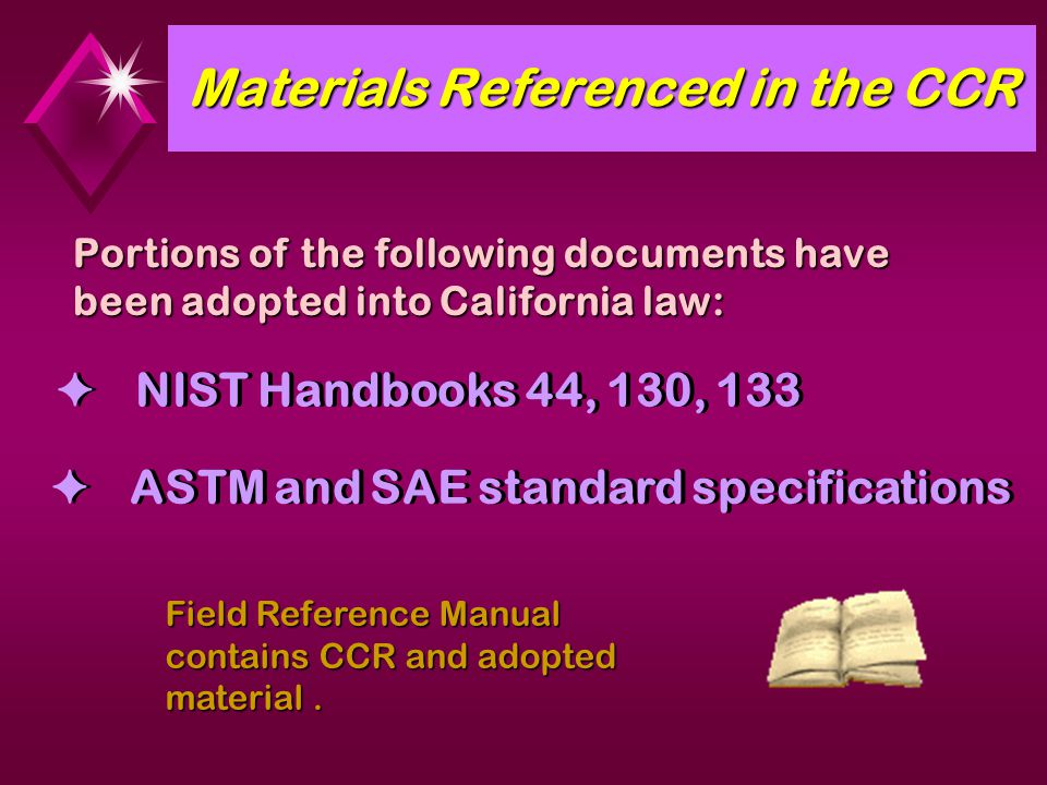 Materials Referenced in the CCR