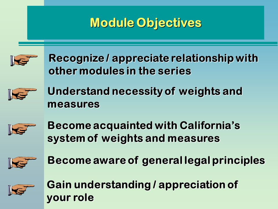 Module Objectives Recognize / appreciate relationship with other modules in the series. Understand necessity of weights and measures.