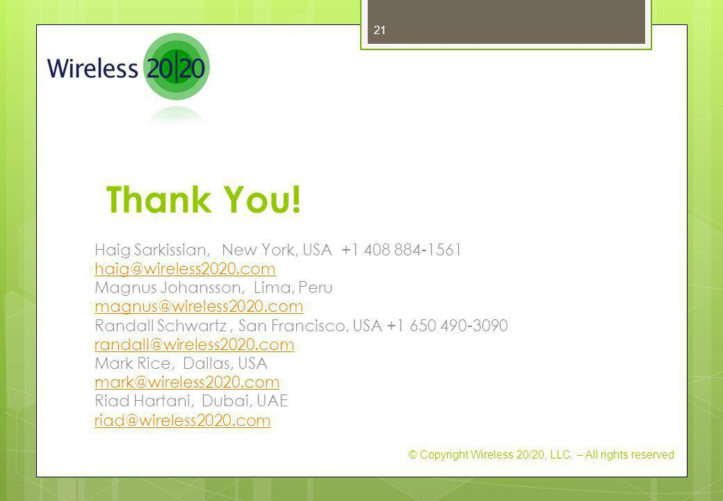 Thank You! Haig Sarkissian, New York, USA +1 408 884-1561