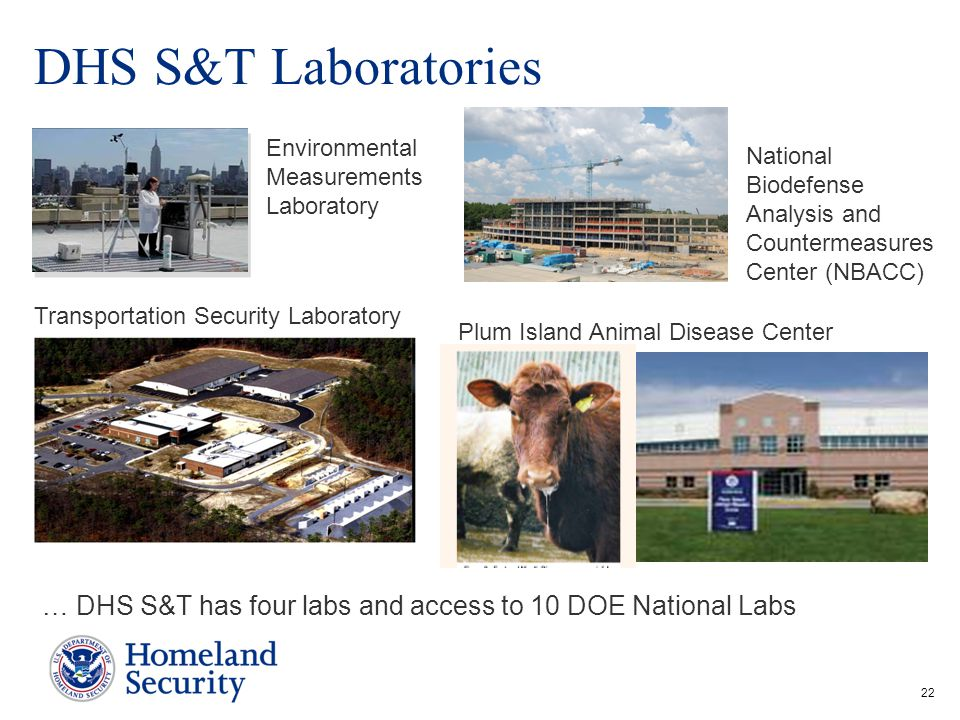 DHS S&T Laboratories Environmental Measurements Laboratory. National Biodefense Analysis and Countermeasures Center (NBACC)