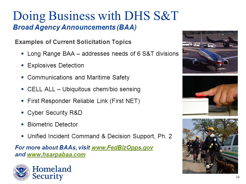 Doing Business with DHS S&T Broad Agency Announcements (BAA)