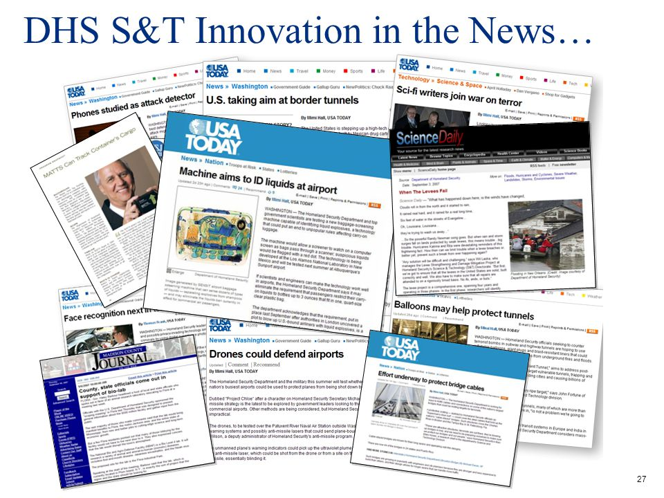 DHS S&T Innovation in the News…