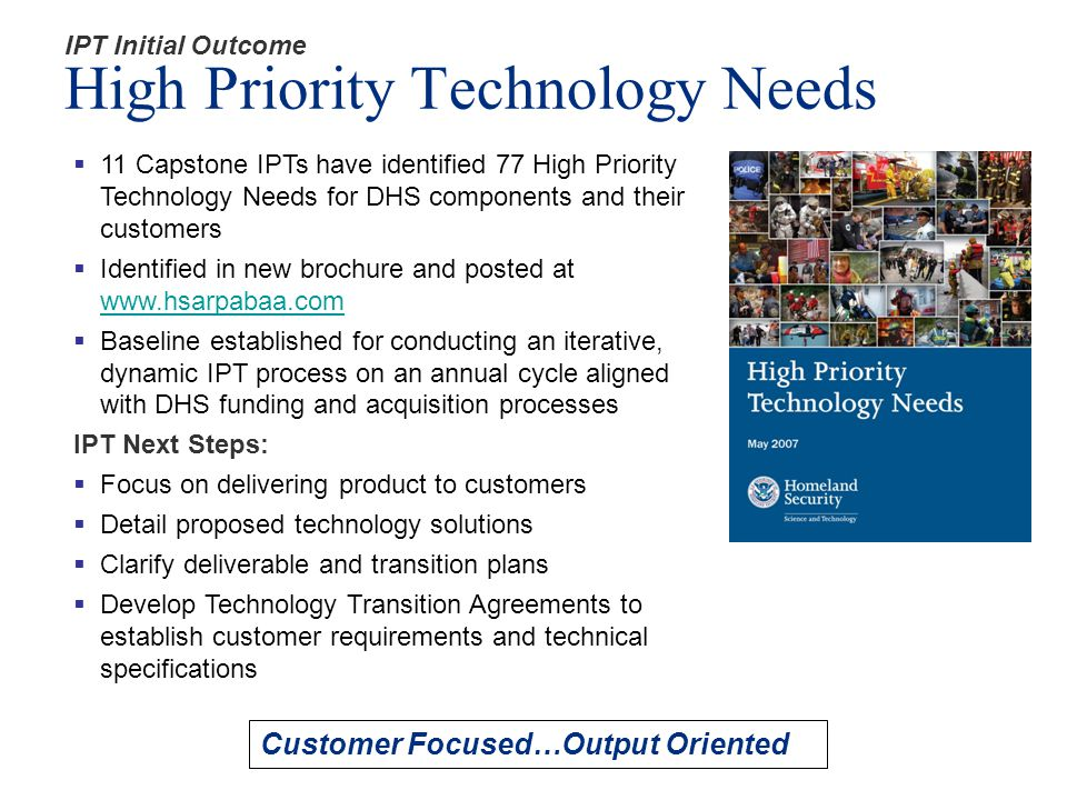 IPT Initial Outcome High Priority Technology Needs