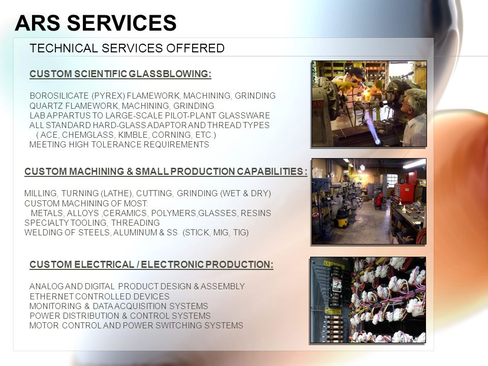 ARS SERVICES TECHNICAL SERVICES OFFERED