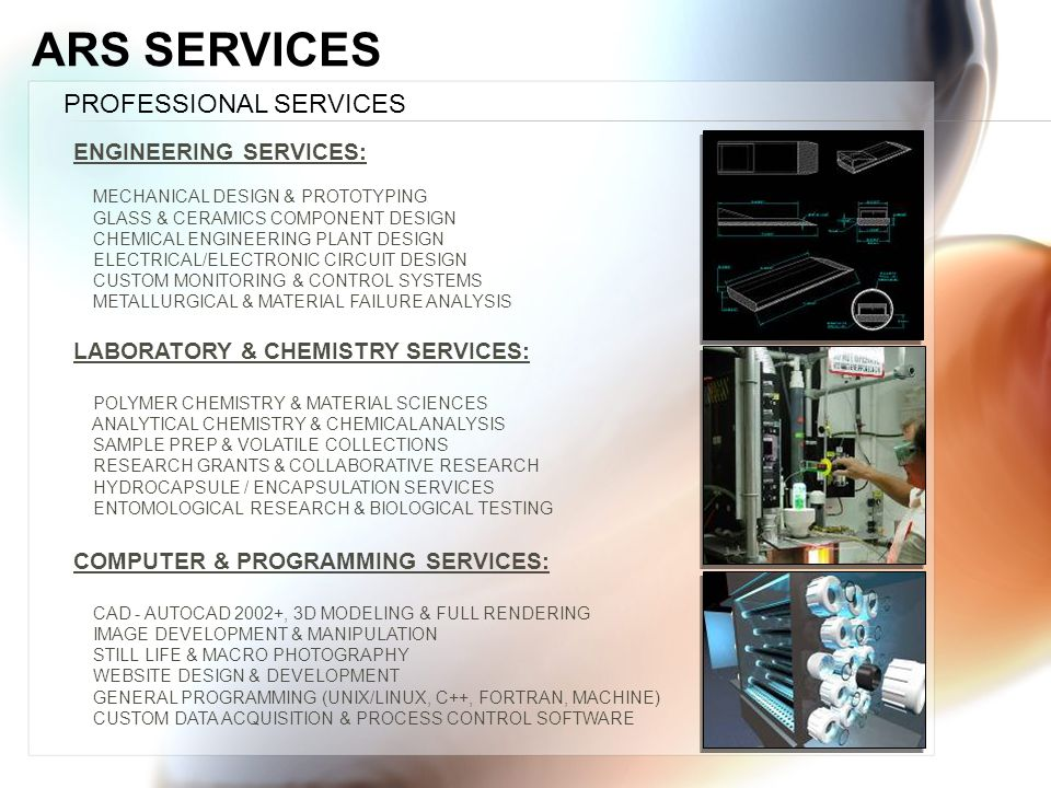 ARS SERVICES PROFESSIONAL SERVICES ENGINEERING SERVICES: