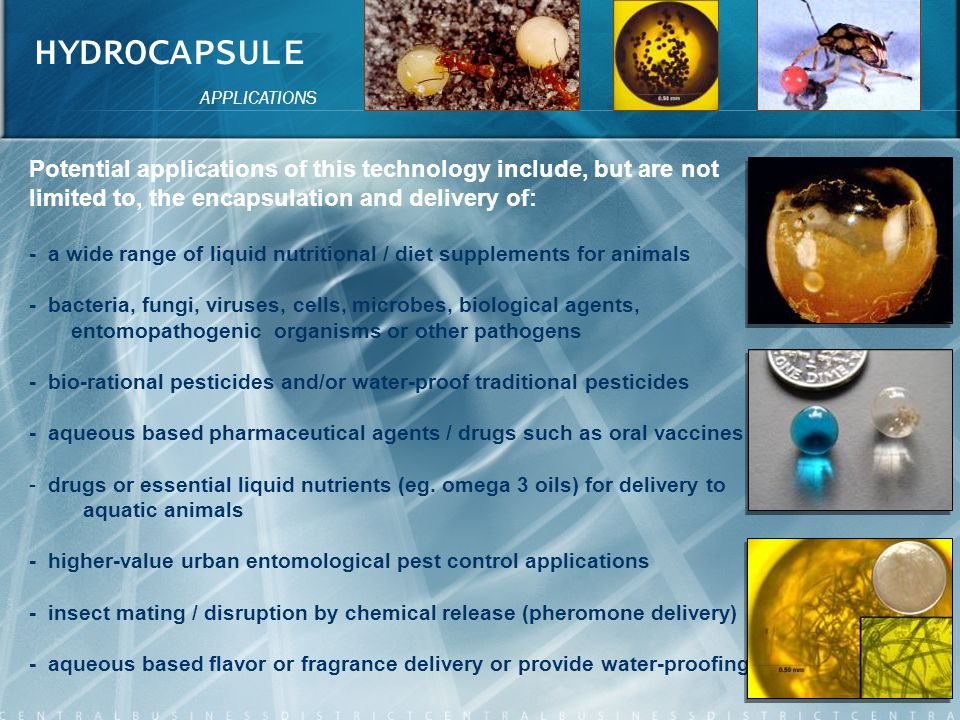 HYDROCAPSULE APPLICATIONS. Potential applications of this technology include, but are not limited to, the encapsulation and delivery of: