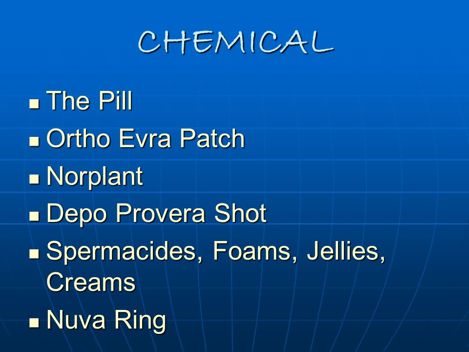 CHEMICAL The Pill Ortho Evra Patch Norplant Depo Provera Shot
