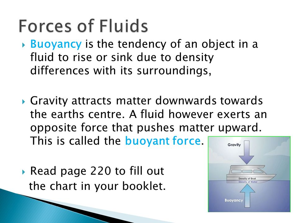 Forces of Fluids Buoyancy is the tendency of an object in a fluid to rise or sink due to density differences with its surroundings,