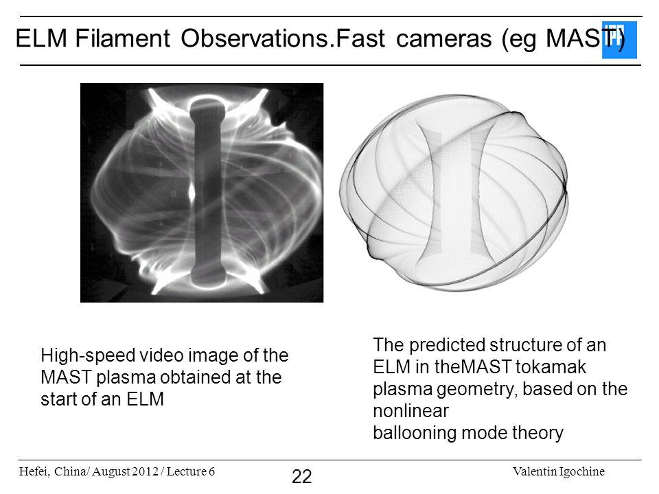 ELM Filament Observations.Fast cameras (eg MAST)