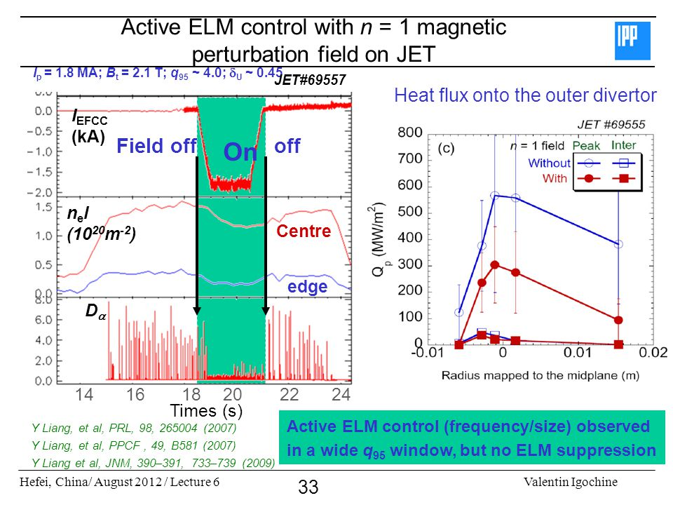 Active ELM control with n = 1 magnetic perturbation field on JET