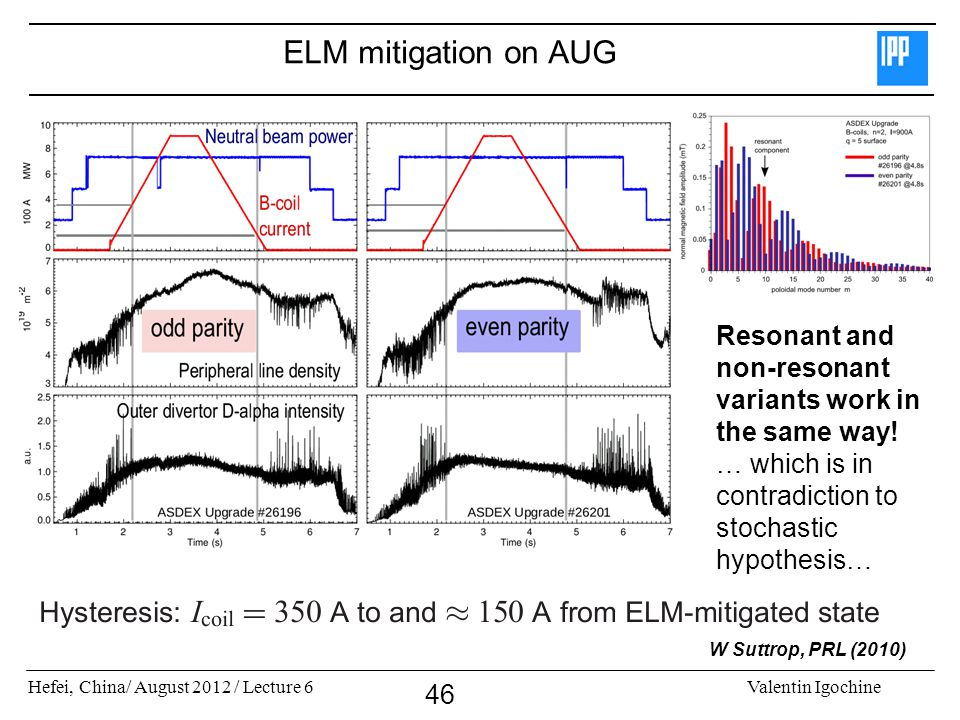 ELM mitigation on AUG Resonant and non-resonant variants work in the same way! … which is in contradiction to stochastic hypothesis…