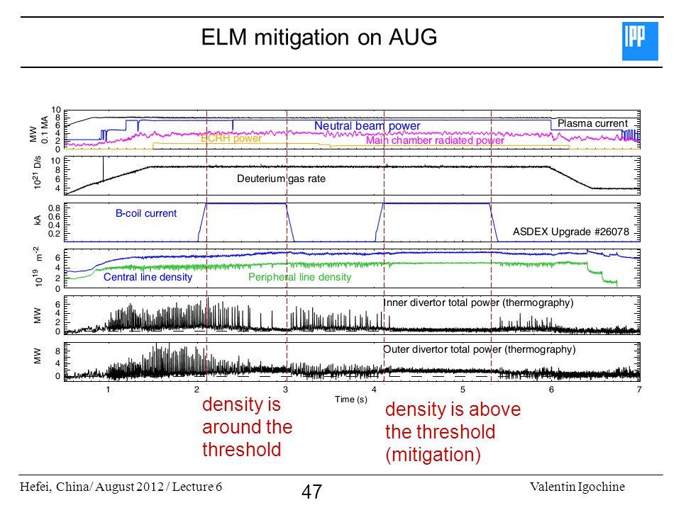 ELM mitigation on AUG density is around the threshold