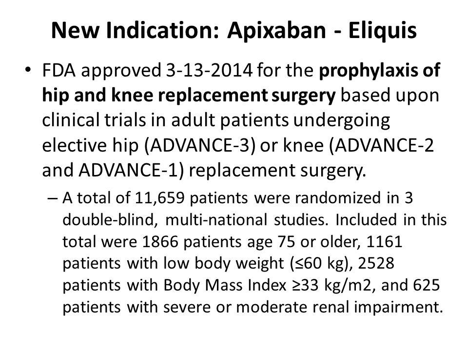 New Indication: Apixaban - Eliquis