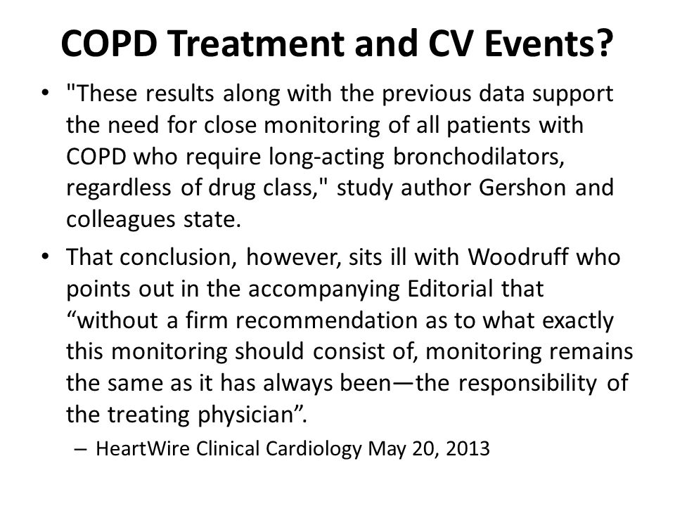 COPD Treatment and CV Events