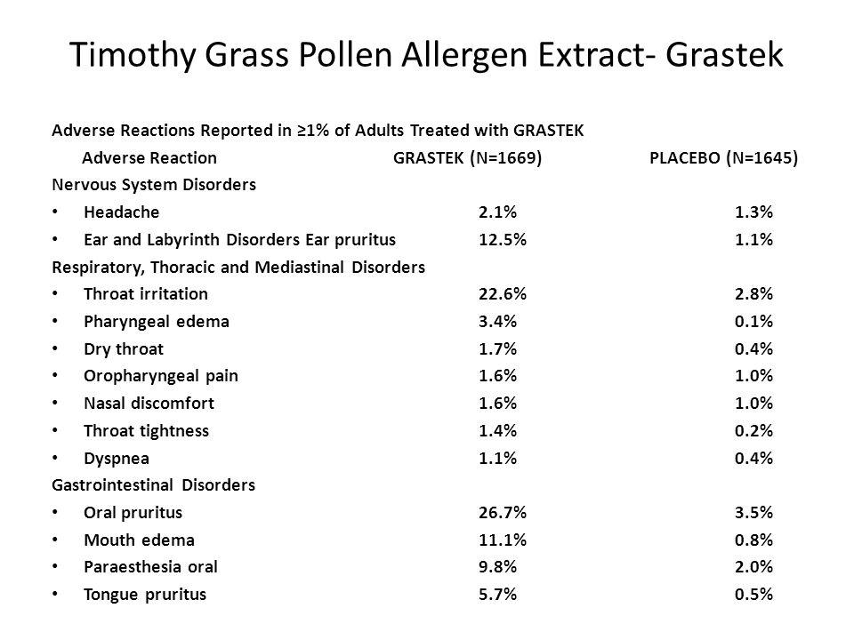 Timothy Grass Pollen Allergen Extract- Grastek