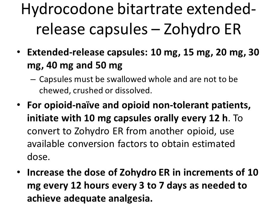 Hydrocodone bitartrate extended-release capsules – Zohydro ER