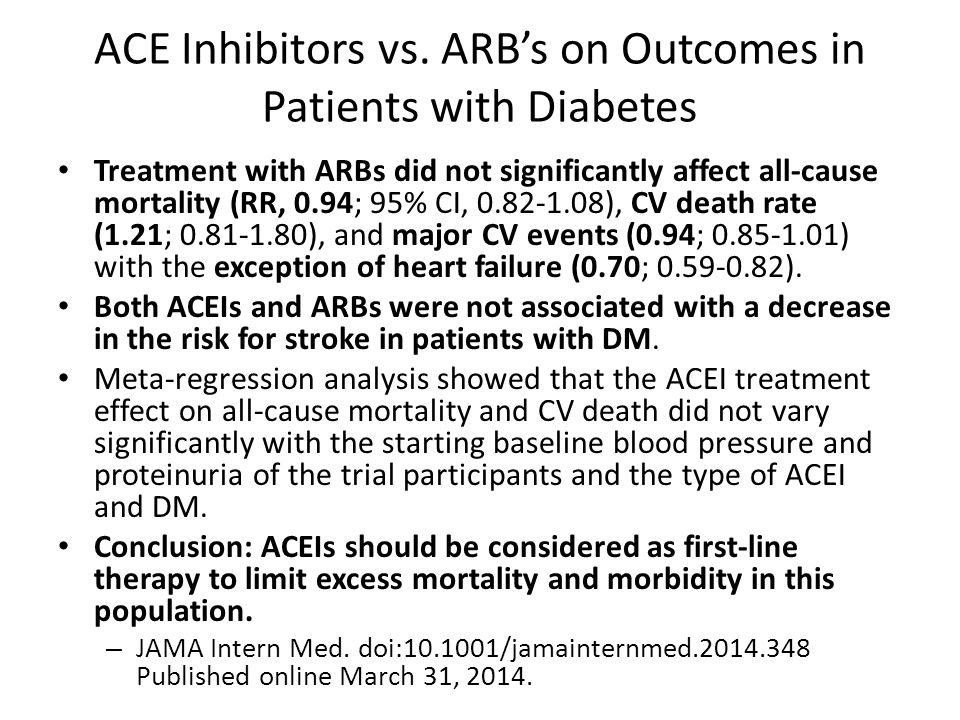ACE Inhibitors vs. ARB's on Outcomes in Patients with Diabetes