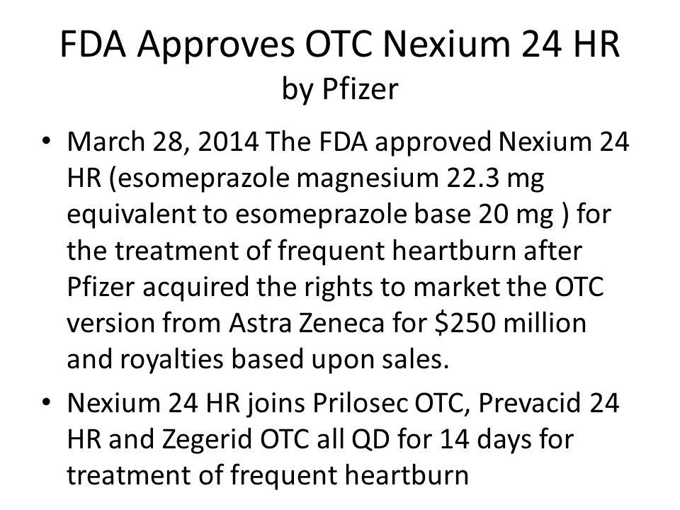 FDA Approves OTC Nexium 24 HR by Pfizer