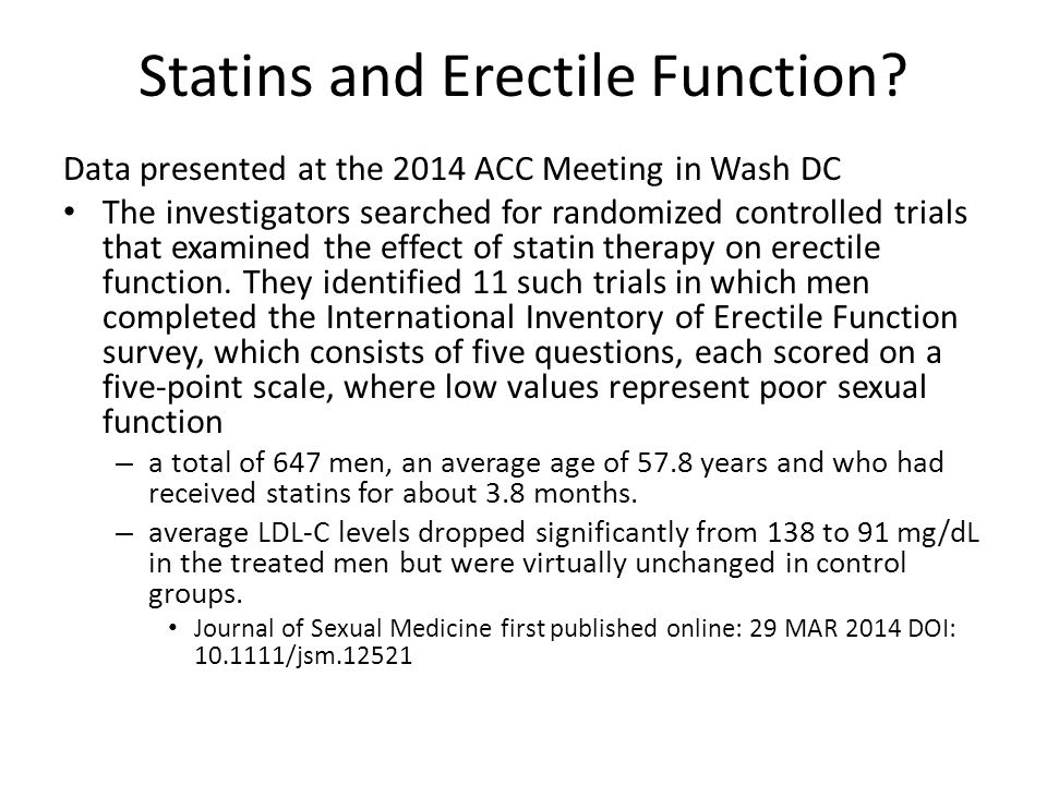 Statins and Erectile Function