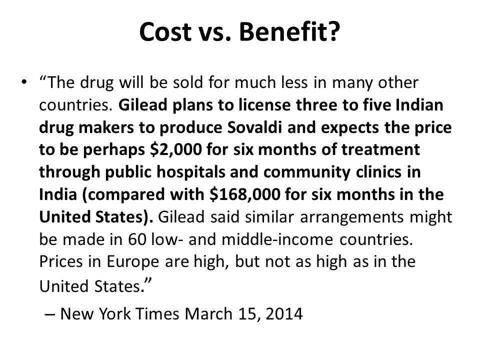 Cost vs. Benefit