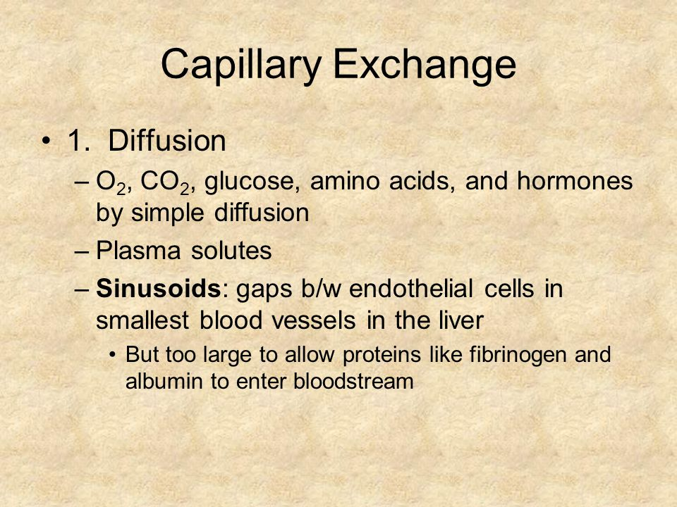 Capillary Exchange 1. Diffusion