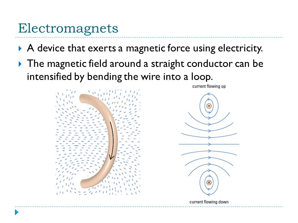 Electromagnets A device that exerts a magnetic force using electricity.