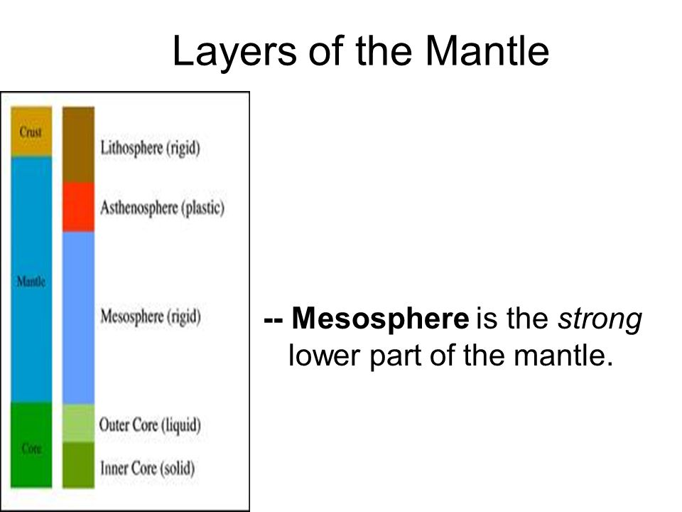 Layers of the Mantle -- Mesosphere is the strong lower part of the mantle.