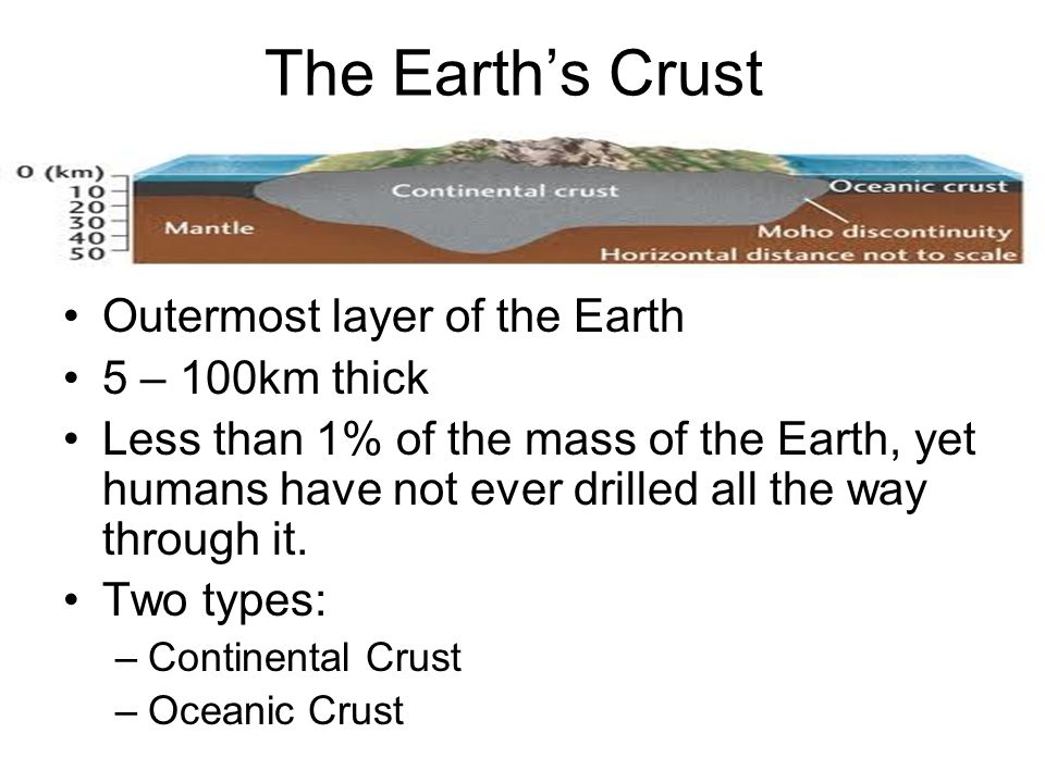 The Earth's Crust Outermost layer of the Earth 5 – 100km thick