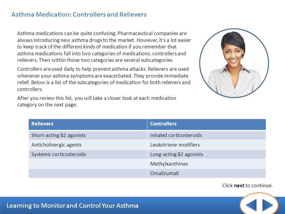 Asthma Medication: Controllers and Relievers