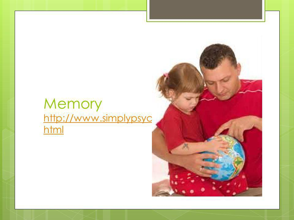 Memory http://www.simplypsychology.org/memory.html
