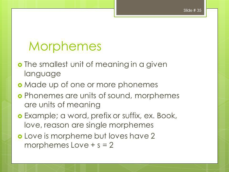 Morphemes The smallest unit of meaning in a given language