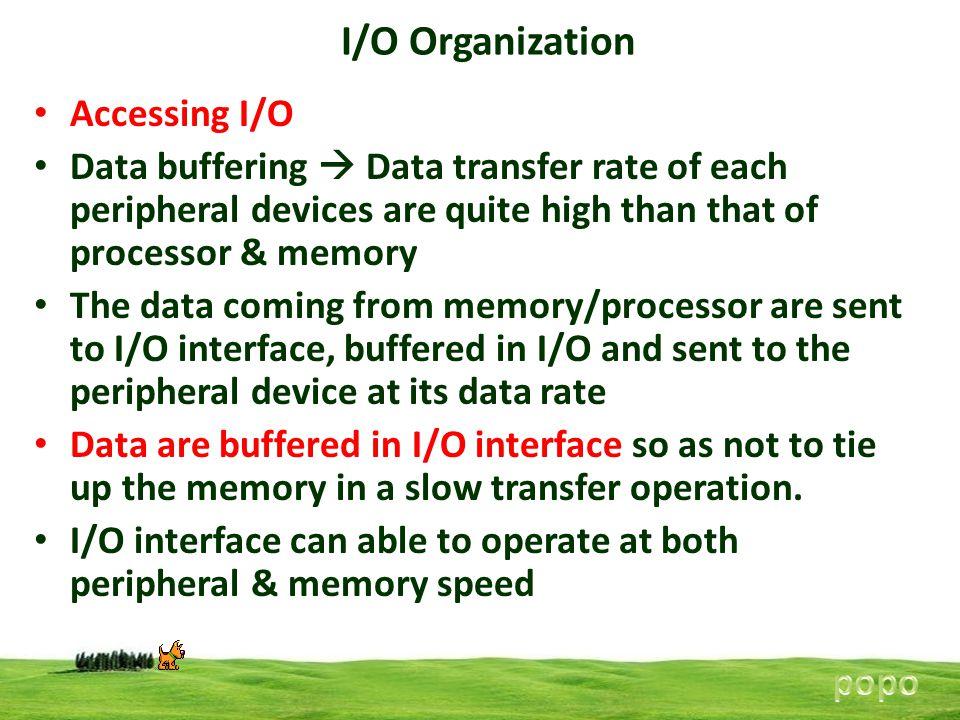 I/O Organization Accessing I/O