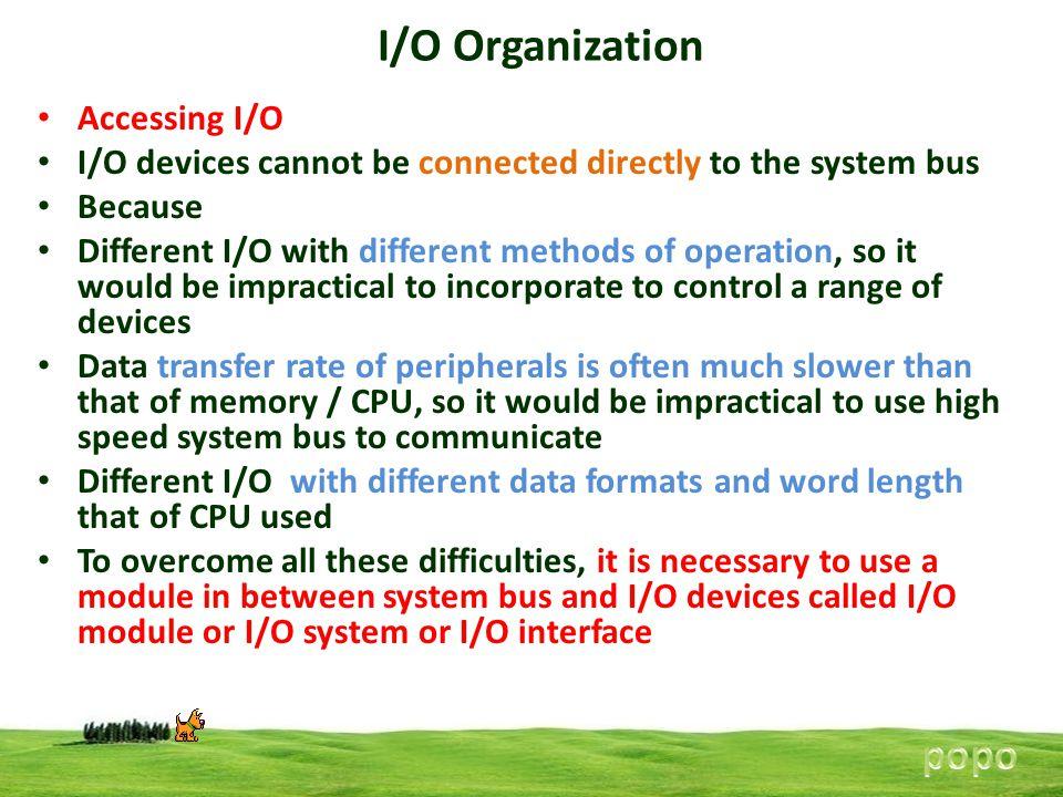 I/O Organization popo Accessing I/O