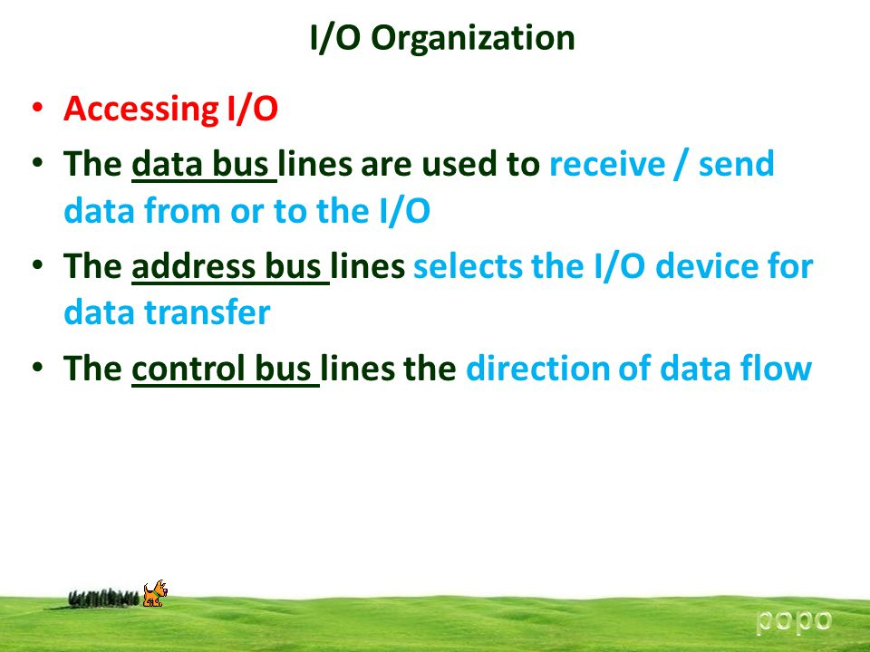 The data bus lines are used to receive / send data from or to the I/O
