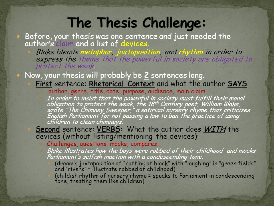 The Thesis Challenge: Before, your thesis was one sentence and just needed the author's claim and a list of devices.