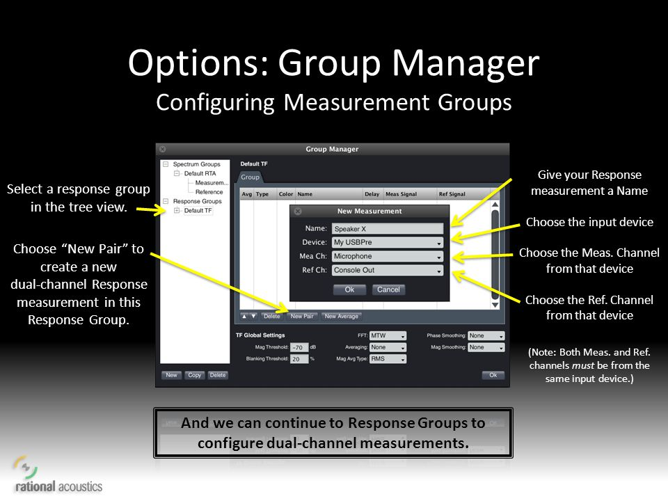 Options: Group Manager Configuring Measurement Groups