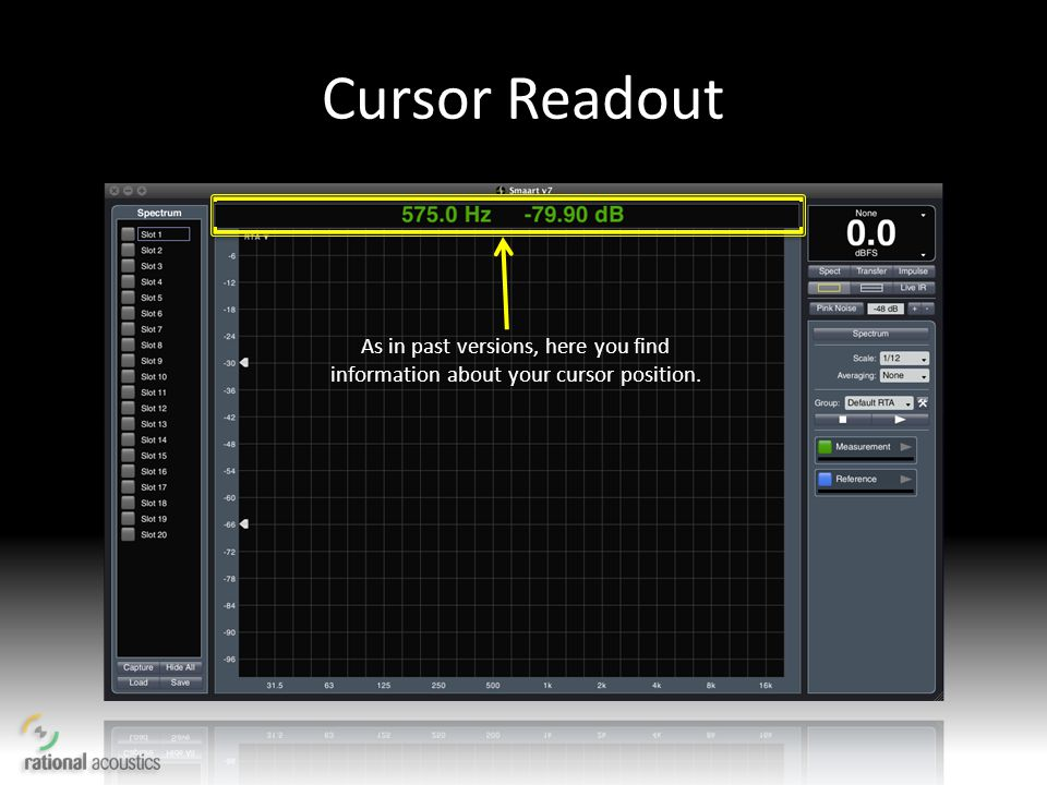 Cursor Readout As in past versions, here you find