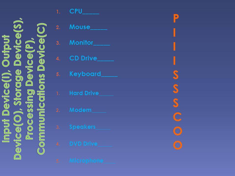 CPU_____ Mouse_____. Monitor_____. CD Drive_____. Keyboard_____.