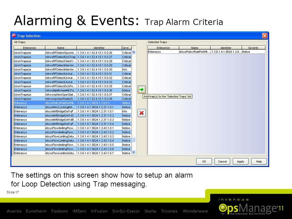 Alarming & Events: Trap Alarm Criteria