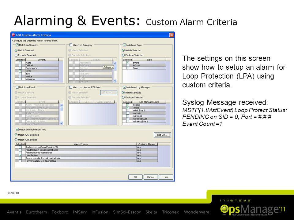 Alarming & Events: Custom Alarm Criteria